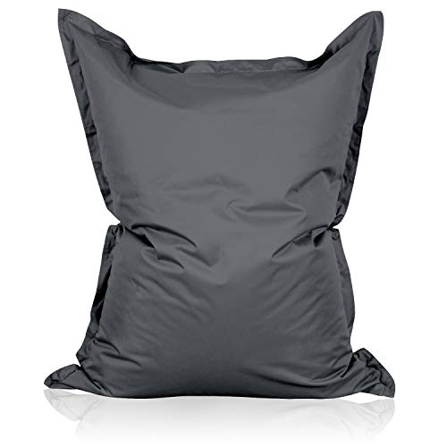 Lumaland Luxury Riesensitzsack XXL Sitzsack 380l Füllung 140 x 180 cm Indoor Outdoor Anthrazit