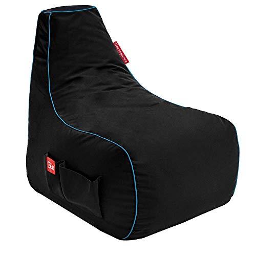 GAMEWAREZ Arctic Mage Gaming Sitzsack, Hergestellt in Deutschland, Schwarz mit blauem Keder, Tasche...*