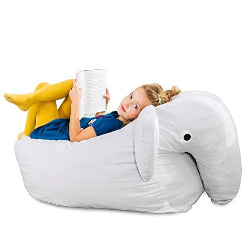 SMOOTHY Kindersitzsack Elefant - Tierform Sitzsack für Kinder - Kindermöbel XXL Stofftier aus...*