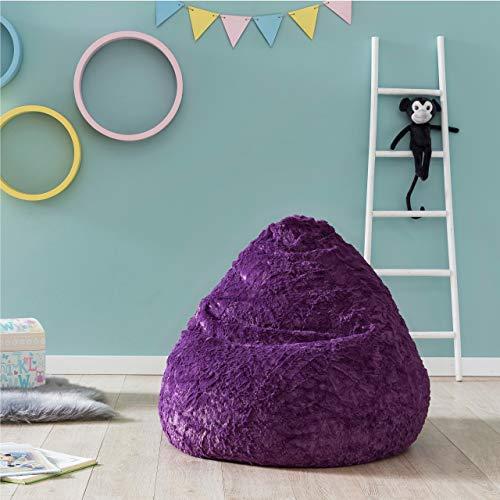Lumaland Fluffy Sitzsack stylischer Webplüsch Beanbag 120L Füllung Lila*